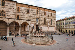 Overview of square and old building in the city center of Perugia. Perugia, Italy - May 15, 2013. Overview of square and old building in the city center of Royalty Free Stock Images