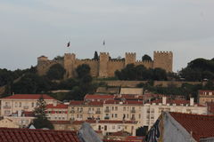 Overview of St. George Castle on the hilltop of Lisbon Stock Image