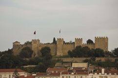 Overview of St. George Castle on the hilltop of Lisbon Historical Center Royalty Free Stock Photos