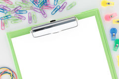 Overview Stationery Green Clipboard White Paper Royalty Free Stock Images