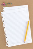 Overview Stationery Notepaper on brown Stock Photo