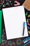 Overview Stationery with Paper and Pen Stock Photo