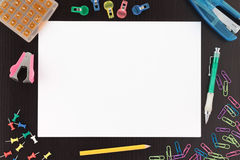 Overview Stationery with Paper and Pen on Desk Royalty Free Stock Photography