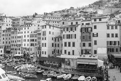 Overview of suggestive little harbor and houses of Camogli royalty free stock photography