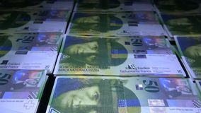 Overview of Swiss money. Swiss banknote 50. stock video footage