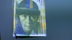 Overview of Swiss money. Swiss banknote 50. HD stock video