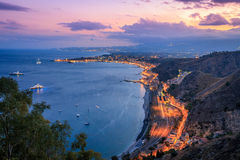 Overview of Taormina Coastline at Dusk Royalty Free Stock Photo