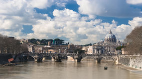 Overview by Tiber with the eyes on the dome of Saint Peter Royalty Free Stock Photography