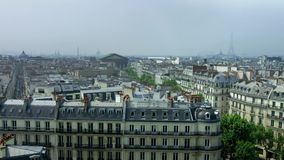 Overview to Paris from Printemps roof stock footage