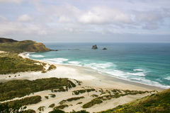 Overview to Sandfly Bay, Otago Peninsula, New Zealand. Overview to Sandfly Bay, Otago, New Zealand Royalty Free Stock Photography