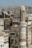 Overview at the tower houses of old Sana Stock Images