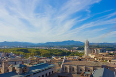 Overview of town, Girona, Spain Royalty Free Stock Photos