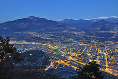 Overview of Trento in night time Royalty Free Stock Photos