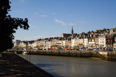 Overview of Trouville. Quay, boat, restaurants and row of houses Royalty Free Stock Photos