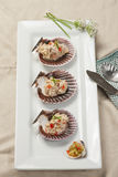 Overview of Tuna salad on shells. Stock Image