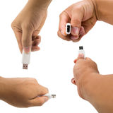 Overview of usb thumb drive in a hand stock image