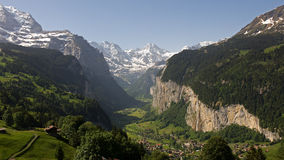 Overview of the Valley at Lauterbrunnen Royalty Free Stock Photography