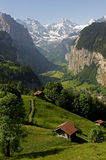 Overview of the Valley at Lauterbrunnen stock photos
