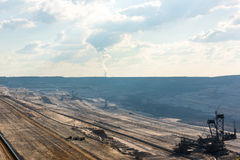 Overview of very large backloader at work in a lignite (browncoal) mine Royalty Free Stock Photo
