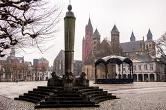 Historical and medieval Vrijthof square, Maastricht, Limburg, The Netherlands royalty free stock photography