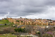 Overview of the walls of Avila, Castilia, Spain Royalty Free Stock Photos