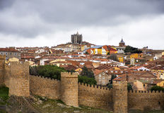 Overview of the walls of Avila city Royalty Free Stock Images