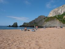 Panoramic of the wild beach of Laga in Bizkaia. Overview of the wild Laga beach in Bizkaia next to the protected biosphere, Basque Country Stock Images