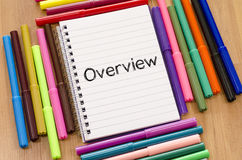 Overview written on notepad royalty free stock photography