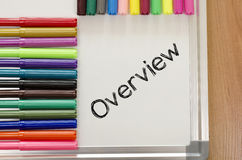 Overview written on whiteboard royalty free stock images