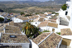 Overview of Zahara de la Sierra, Spain stock images