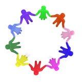 Overvloed van kleurrijke mensen die in een cirkel zich hand in hand bevinden Stock Afbeelding