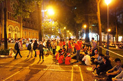 Overvolle atmosfeer, Ho Chi Minh-de jeugdlevensstijl Royalty-vrije Stock Afbeeldingen