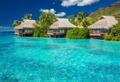 Overwater别墅在Moorea海岛盐水湖  免版税图库摄影