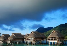 Overwater平房 Moorea,法属玻里尼西亚 库存照片