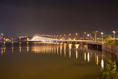 Overwater bridge over the sea at night in Macau Royalty Free Stock Photos