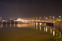 Overwater bridge over the sea at night in Macau Royalty Free Stock Photos