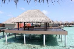 Overwater Bungalow. A photo taken of a overwater bungalow in Maldives Royalty Free Stock Photo