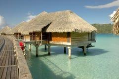 Overwater bungalow at Bora Bora royalty free stock photo