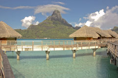 Overwater bungalow at Bora Bora. MWS Overwater accommodation bungalows at spectacular Bora Bora in French Polynesia Royalty Free Stock Photos