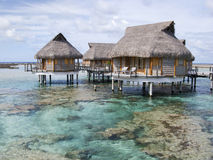 Overwater bungalow in Polynesia. A nice group of overwater bungalows in Tikehau, Polynesia Royalty Free Stock Photo