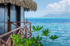 Overwater bungalow with view of amazing blue lagoon Royalty Free Stock Photography