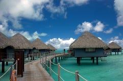 Overwater Bungalowe Tahiti Lizenzfreies Stockbild