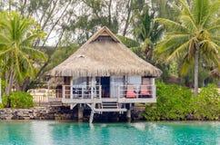 Overwater bungalower, franska Polynesien Arkivbilder