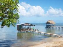 Overwater bungalower i Punta Gorda arkivbilder