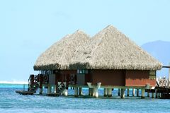 Overwater bungalows. Two overwater bungalows in Tahiti, French Polynesia stock photo