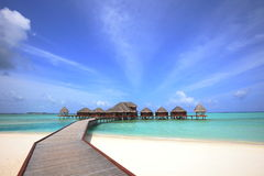 Overwater bungalows royalty free stock images
