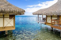 Overwater Bungalows. Moorea, French Polynesia royalty free stock photography