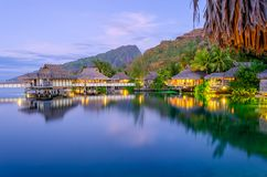 Overwater Bungalows. At dusk, French Polynesia royalty free stock photography