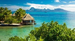 Overwater bungalows with best beach for snorkeling, Tahiti, Fren Stock Photos