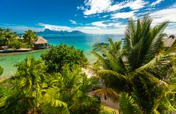 Overwater bungalows with best beach for snorkeling, Tahiti, Fren stock photo